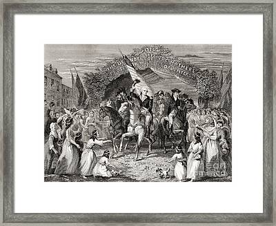 Washington Entering Trenton  New Jersey Usa, 1789 Framed Print by American School