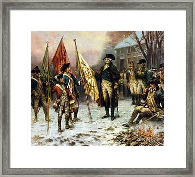 Washington Inspecting Captured Flag Framed Print