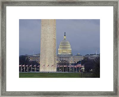 Washington Monument And United States Capitol Buildings - Washington Dc Framed Print