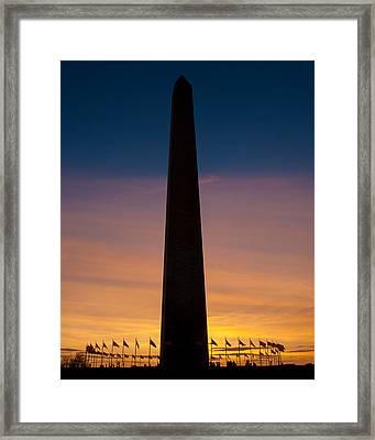 Washington Monument At Sunset Framed Print