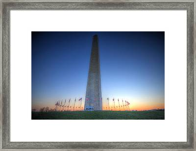 Framed Print featuring the photograph Washington Monument At Sunset by Shelley Neff