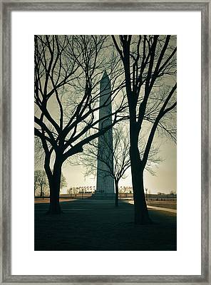 Washington Monument On A Winter Day Framed Print by Brandon Bourdages