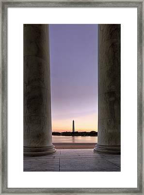 Washington Monurment At Dawn Framed Print by Andrew Soundarajan