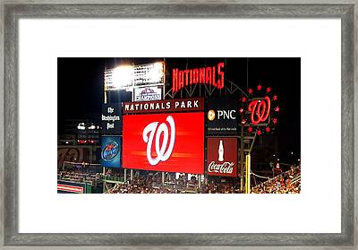 Washington Nationals Scoreboard Framed Print by Kenny Glover