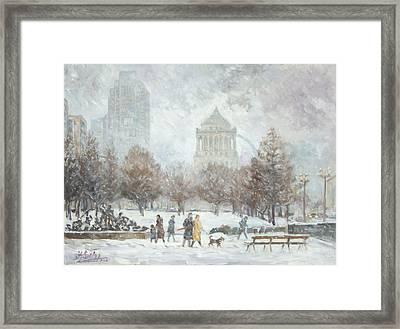 Washington Park In St.louis Winter Framed Print