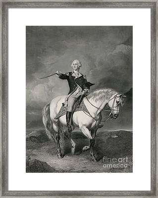 Washington Receiving A Salute On The Field Of Trenton Framed Print