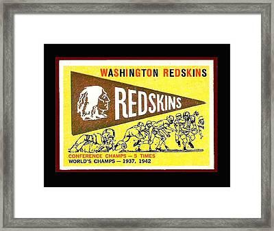 Washington Redskins 1959 Pennant Card Framed Print by Paul Van Scott
