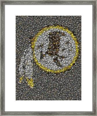 Framed Print featuring the mixed media Washington Redskins Coins Mosaic by Paul Van Scott