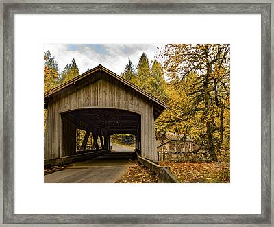 Washington State Covered Bridge And Grist Mill In Autumn  Framed Print