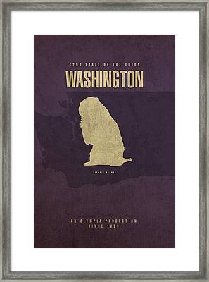 Washington State Facts Minimalist Movie Poster Art Framed Print by Design Turnpike