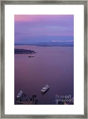 Washington State Ferry Sunrise Light Framed Print