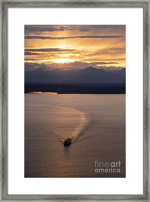 Washington State Ferry Sunset Framed Print