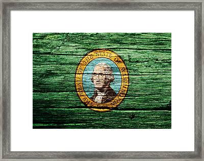 Washington State Flag 3w Framed Print