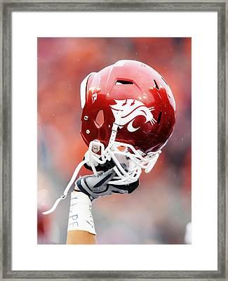 Washington State Helmet  Framed Print