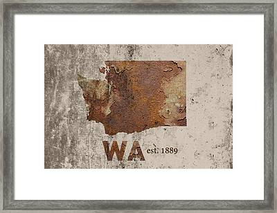 Washington State Map Industrial Rusted Metal On Cement Wall With Founding Date Series 042 Framed Print by Design Turnpike