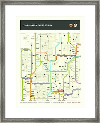 Washington State Map Framed Print by Jazzberry Blue
