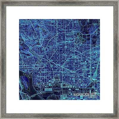 Washington West, Columbia, Old Blue Map, Year 1945 Framed Print by Pablo Franchi