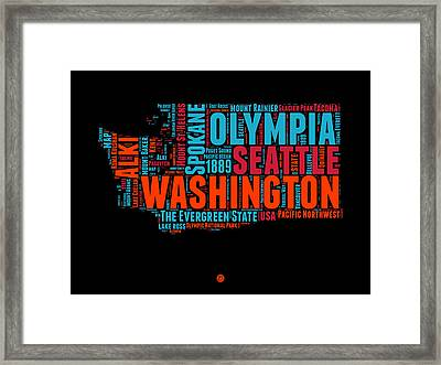 Washington Word Cloud Map 1 Framed Print by Naxart Studio