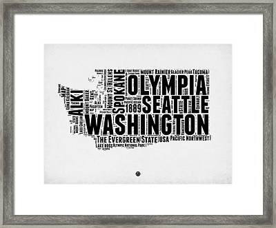 Washington Word Cloud Map 2 Framed Print by Naxart Studio