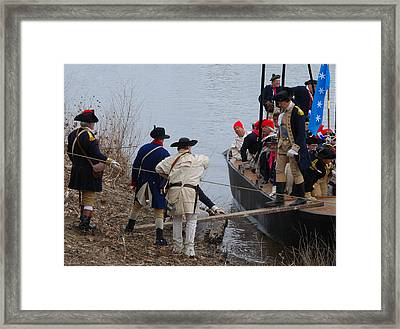 Framed Print featuring the photograph Washington's Crossing 2010--washington Comes Ashore by Steven Richman