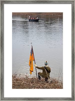Framed Print featuring the photograph Washington's Crossing-guiding The Boats by Steven Richman