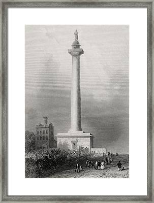 Washingtons Monument Baltimore Usa Framed Print by Vintage Design Pics
