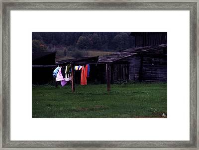 Washline On The Upper Peninsula Framed Print