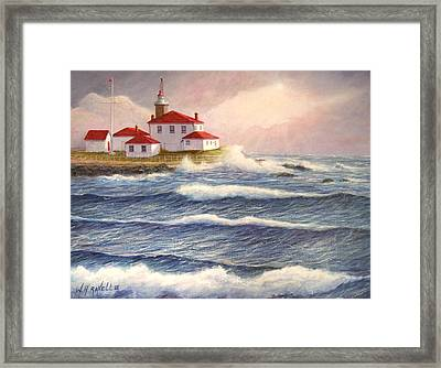Watch Hill Lighthouse In Breaking Sun Framed Print by William H RaVell III