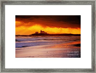 Watch Hill Lighthouse Sunset Framed Print