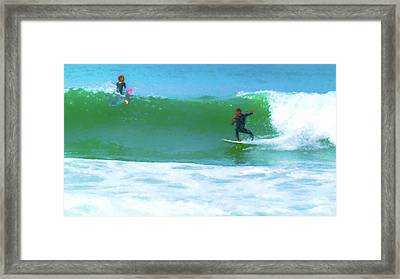 Watch How I Surf This One Watercolor Framed Print