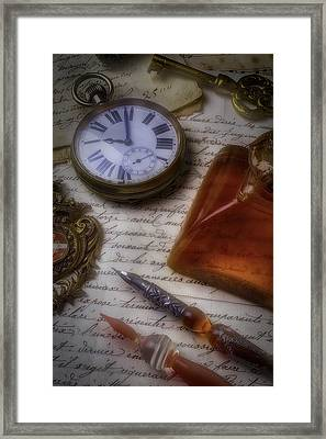 Watch Ink And Glass Pens Framed Print