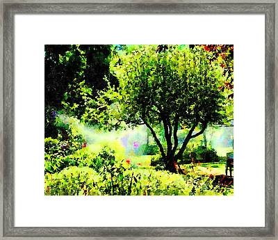 Framed Print featuring the painting Watch Out For The Sprinklers by Angela Treat Lyon