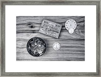 Watch Parts On Wood Still Life Framed Print