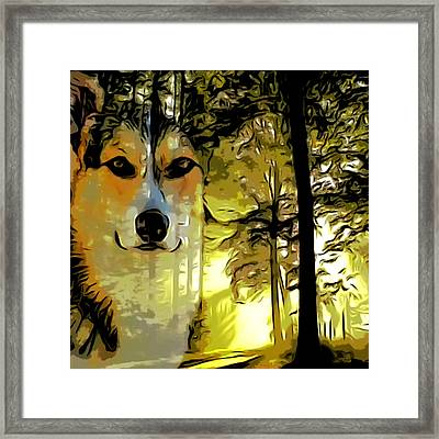 Framed Print featuring the digital art Watcher Of The Woods by Kathy Kelly