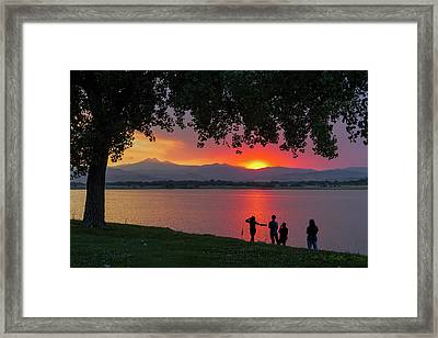 Watching A Burning Sunset What A View Framed Print