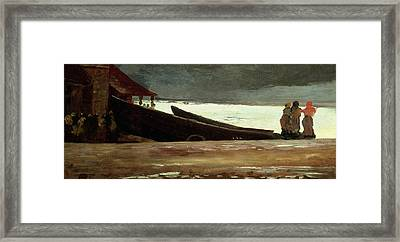Watching A Storm On The English Coast Framed Print by Winslow Homer