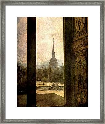 Watching Antonelliana Tower From The Window Framed Print by Vittorio Chiampan