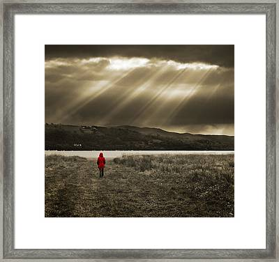 Watching In Red Framed Print by Meirion Matthias