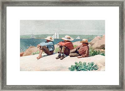 Watching Ships   Gloucester Framed Print by Winslow Homer