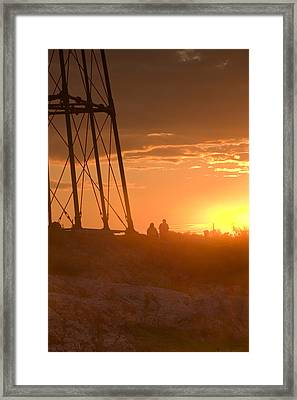 Watching The Marblehead Sunset Framed Print by Jeff Folger