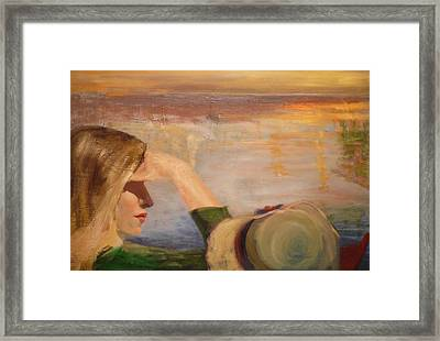 Watching The Sails Framed Print by Irena  Jablonski