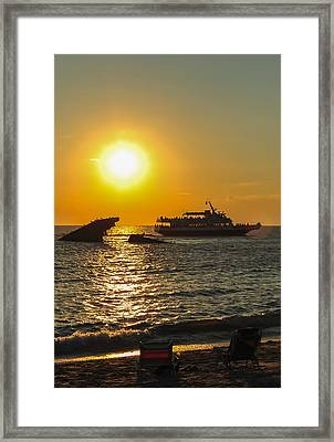 Watching The Ships Sunset Beach Cape May Nj Framed Print by Terry DeLuco