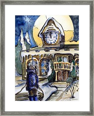 Watching The Village Clock Framed Print by Mindy Newman