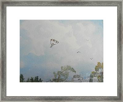 Watching Them As They Come Into Land Framed Print
