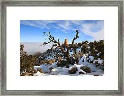 Watchtower In Winter Framed Print by Mike Buchheit