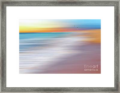 Water Abstraction II With Gulls By Kaye Menner Framed Print by Kaye Menner