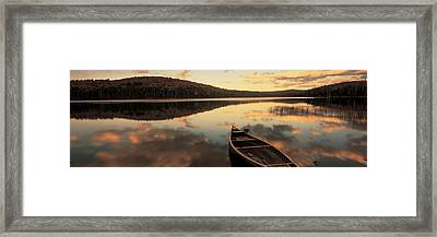 Water And Boat, Maine, New Hampshire Framed Print