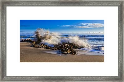 Water And Earth Collide Framed Print