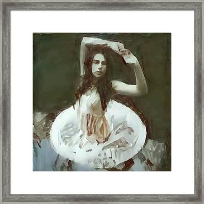 Water Ballerina Dancing Like A Siren Mermaid Figure Holding Hands In Coying Manner Floating Framed Print by MendyZ