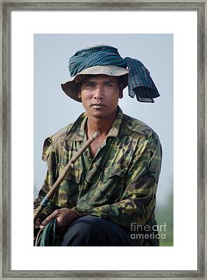 Water Buffalo Driver In Cambodia Framed Print
